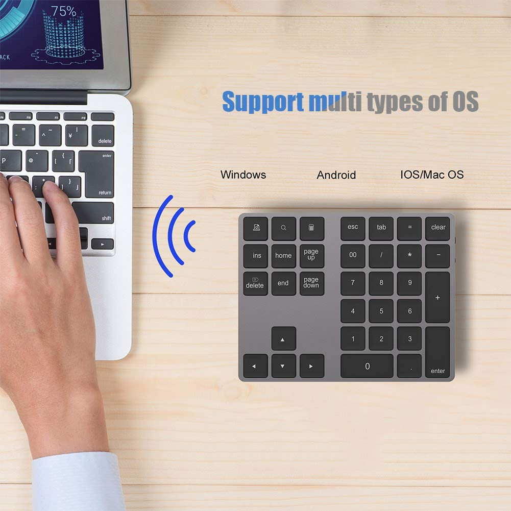 Numeric Keypad Black Type-c to Type-c Public Data Line Number Pad BT Wireless Number Pad BT Numeric Keypad 34 Key Keyboard HUB Type-C USB 3.0 Fit for Windows