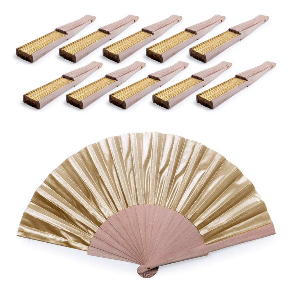 eBuyGB Wooden Metallic Look Folding Handheld Hand Fan, Pack of 10 (Gold) by eBuyGB