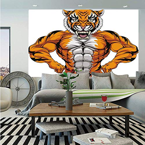 Animal Wall Mural,Wildlife Safari African Animal Bodybuilder Tiger Cartoon Image,Self-Adhesive Large Wallpaper for Home Decor 55x78 inches,Marigold Light Grey and Black