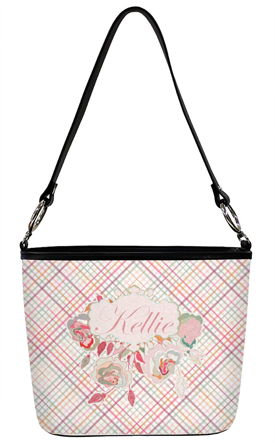 Large Personalized Modern Plaid /& Floral Bucket Bag w//Genuine Leather Trim Front /& Back