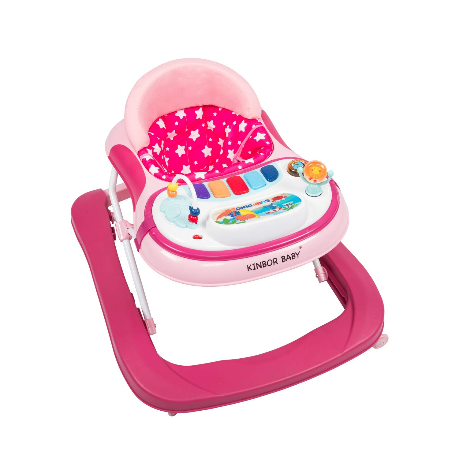 Kinbor Baby 2-in-1 Baby Sit-to –Stand Learning Walker, Seated or Push-Behind Position, Foldable, Fun Toys and Activities for Baby Girl or boy