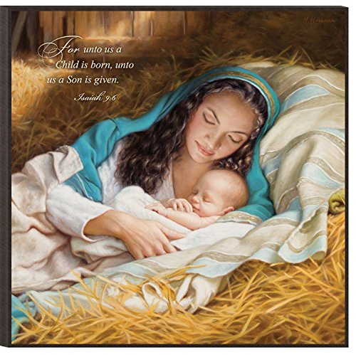 For Unto Us a Child is Born Mary with Child 12 x 12 Wood Wall Art Sign Plaque