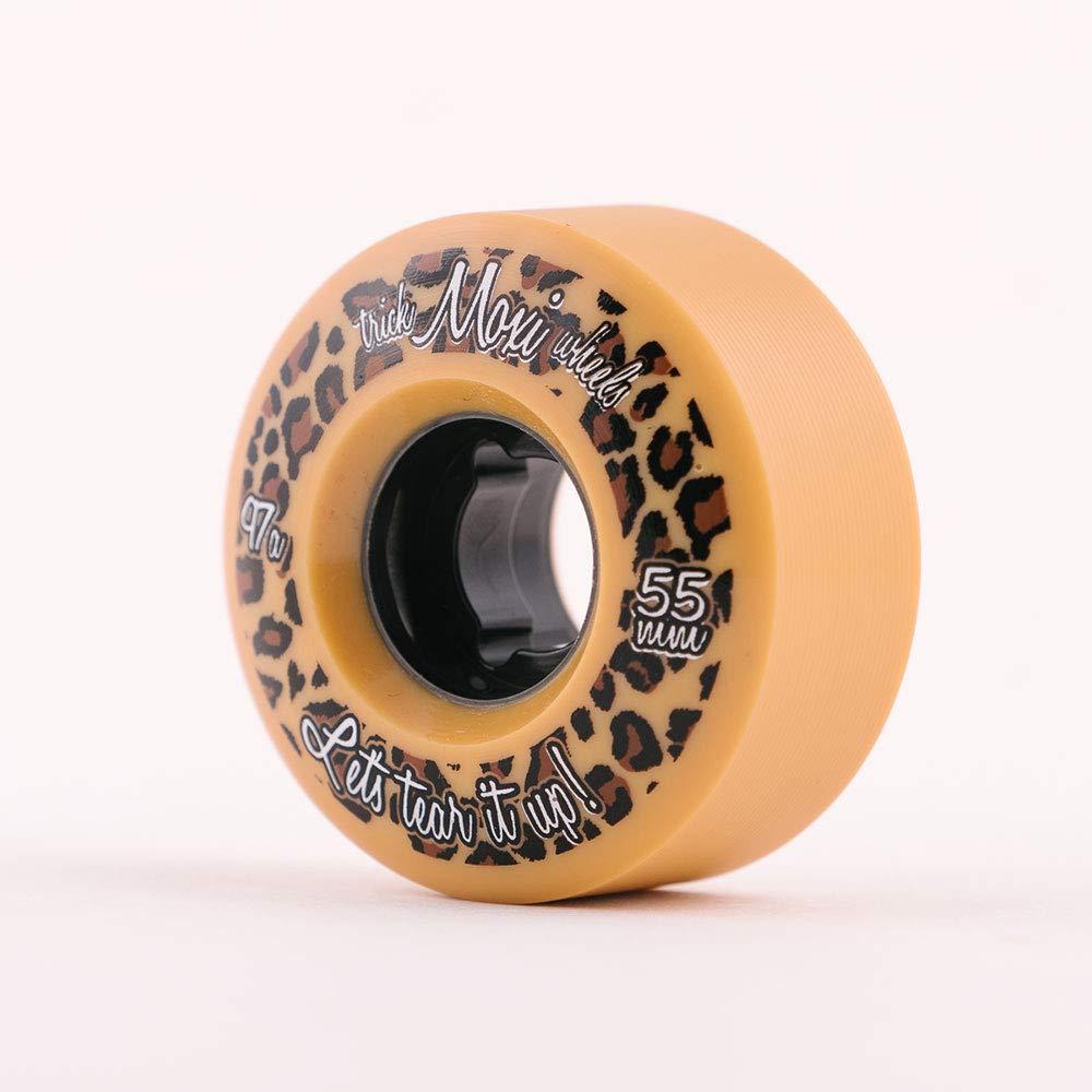 Moxi Skates – Trick Wheels – Roller Skate Wheels – 4 Pack of 55mm 97A Wheels Leopard