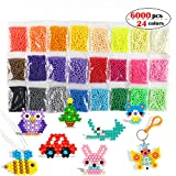 Aqua Fuse Beads Refill Set Water Beads Non-Toxic Safe Art Crafts Toys for Kids Handmake STEM Educational kit-6000 Beads in 24 Different Colors Mixture