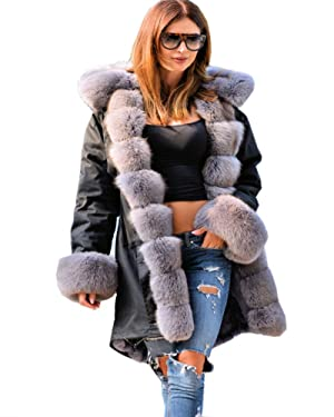 Roiii Womens Winter Coat Jacket Down Faux Fur Collar Warm Long Hooded Outwear (XL, Black)