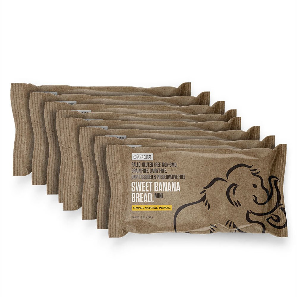 Base Culture Sweet Banana Bread, Snack Size | Delicious 100% Paleo, Gluten, Grain, Dairy, and Soy Free (4g Protein Per Loaf, 8 Count)