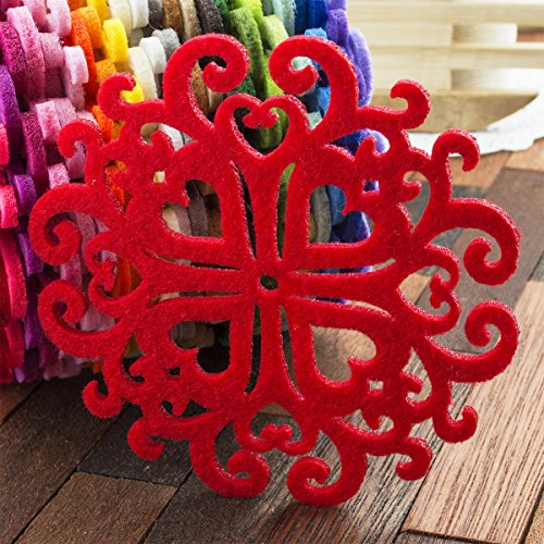 Summer-Ray 12pcs Laser Cut Felt Coaster 4 inch Size Unique Home/Kitchen Decoration in Red Color