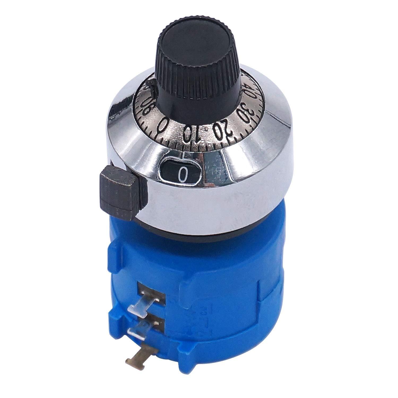 3590S-2-503L 50k ohm 10 anelli Manopola rotante con Quadrante di conteggio resistenza variabile conteggio Potenziometro con a filo multigiro di precisione Taiss//10 giri Potenziometro di precisione a filo avvolto rotante