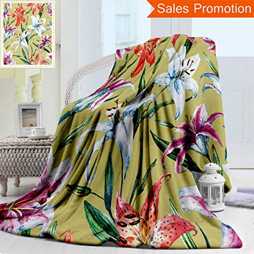 Unique Double Sides 3D Print Flannel Blanket Watercolor Flower Pattern Floral Pattern White and Orange Lily Plant Wallpapers Retro Cozy Plush Supersoft Blankets for Couch Bed, Throw Blanket 50