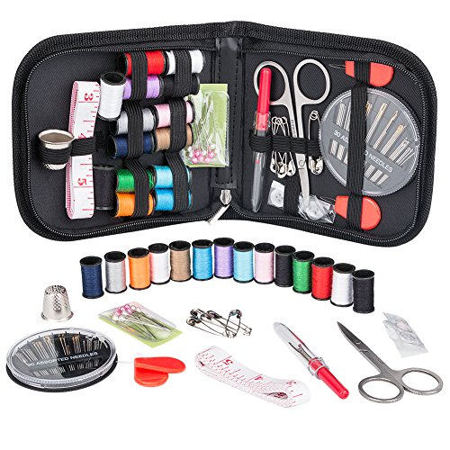 (Coquimbo Sewing Kit for Traveler, Adults, Beginner, Emergency, DIY Sewing Supplies Organizer Filled with Scissors, Thimble, Thread, Sewing Needles, Tape Measure etc (Black, S))