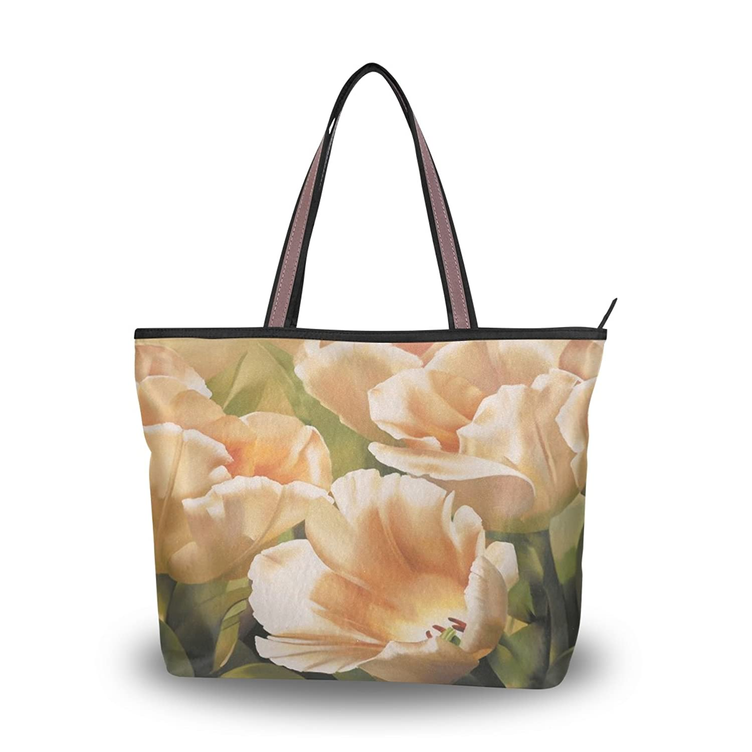 Yochoice Women's Shoulder Bags,Retro Vintage Art Floral Oil Painting,Tote Bag Design 44