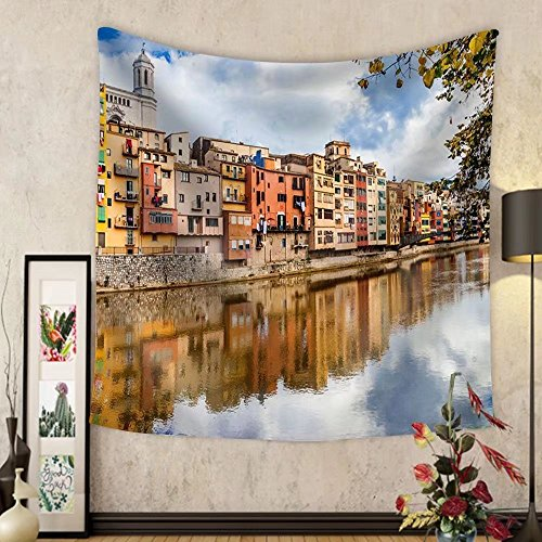 Gzhihine Custom tapestry Beautiful Canals of Girona Town - Spain - Fabric Wall Tapestry Home Decor by Gzhihine