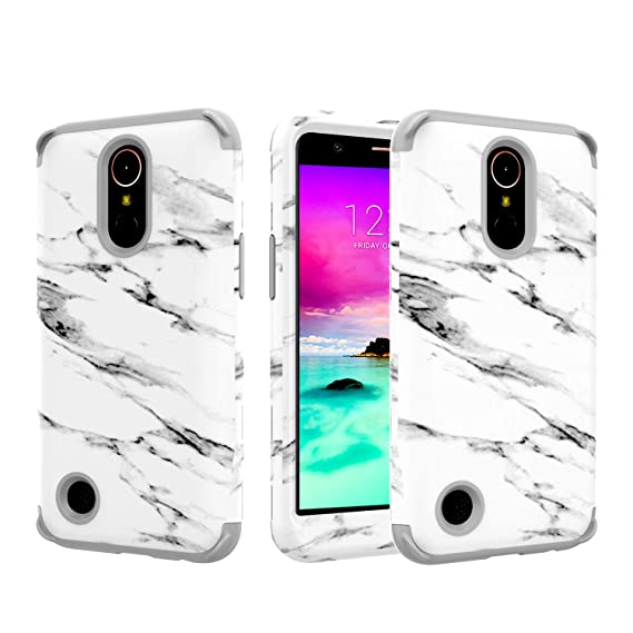 meet 8e68b 631a5 LG K20 Plus Case,LG K20 V, LG K10 2017, LG Harmony, LG Grace Marble Three  Layer Heavy Duty Hybrid Sturdy Armor Shockproof Protective Phone Cover  Cases ...
