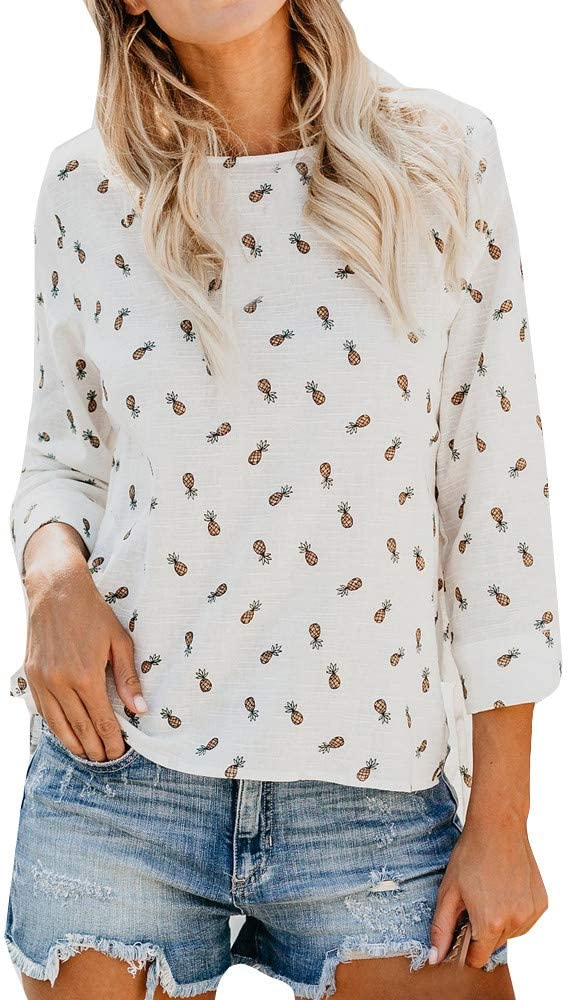 TianWlio Long Sleeve Shirt for Women Pineapple Printed V-Neck Blouse Tunics Losse Flowy Tank Tops Pullover