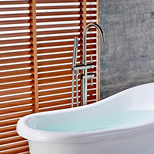 Fapully Luxury Bathroom Free-standing Bathtub Faucet Tub Filler with Hand Shower Brushed Nickel by Fapully (Image #2)
