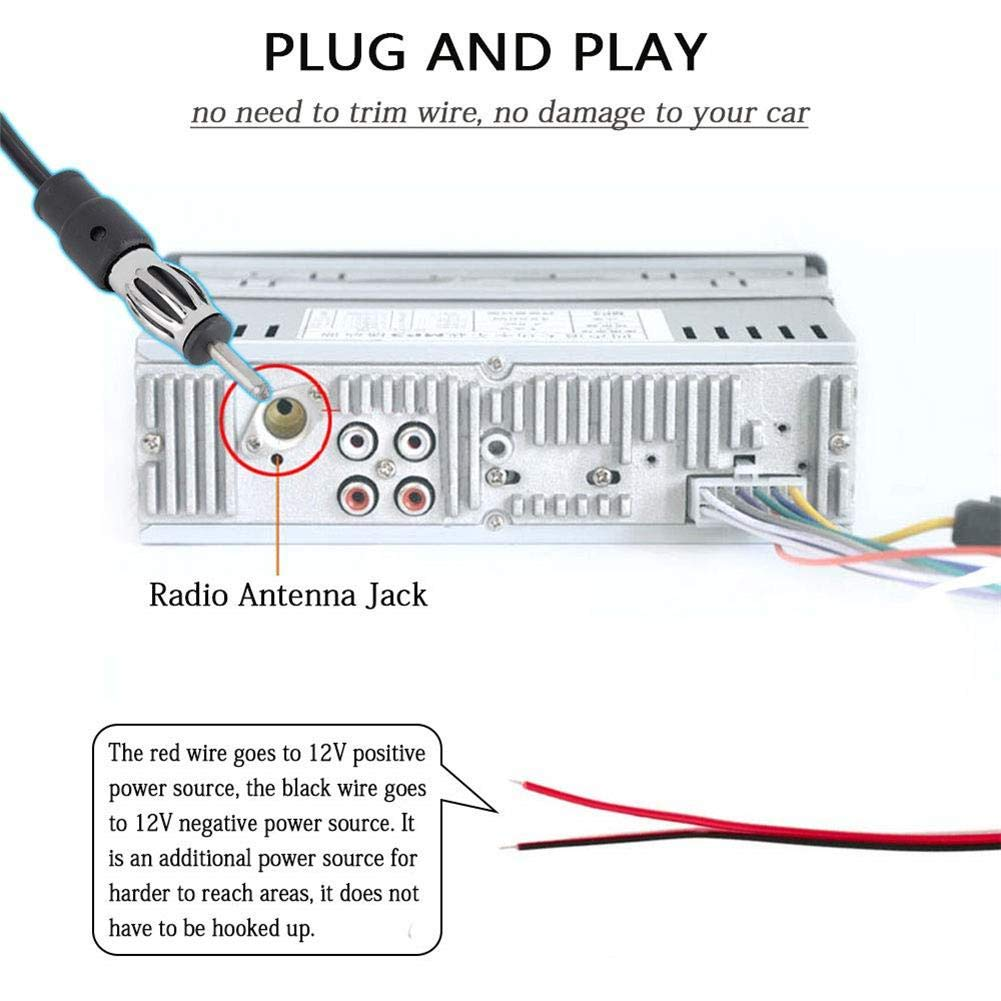Car High Frequency Enhancement Car Radio Antenna Car AM FM Radio Antenna Signal Amplifier Booster FM Antenna Signal Amplifier Antenna LS-068 Windshield 12V Universal Antena
