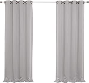 Best Home Fashion Thermal Insulated Blackout Curtains - Antique Bronze Grommet Top - Light Grey- 52