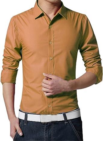 Camisa de vestir para hombre, manga larga, con botones, formal, para hombre, ajustada, cuello redondo, color puro, en 17 colores