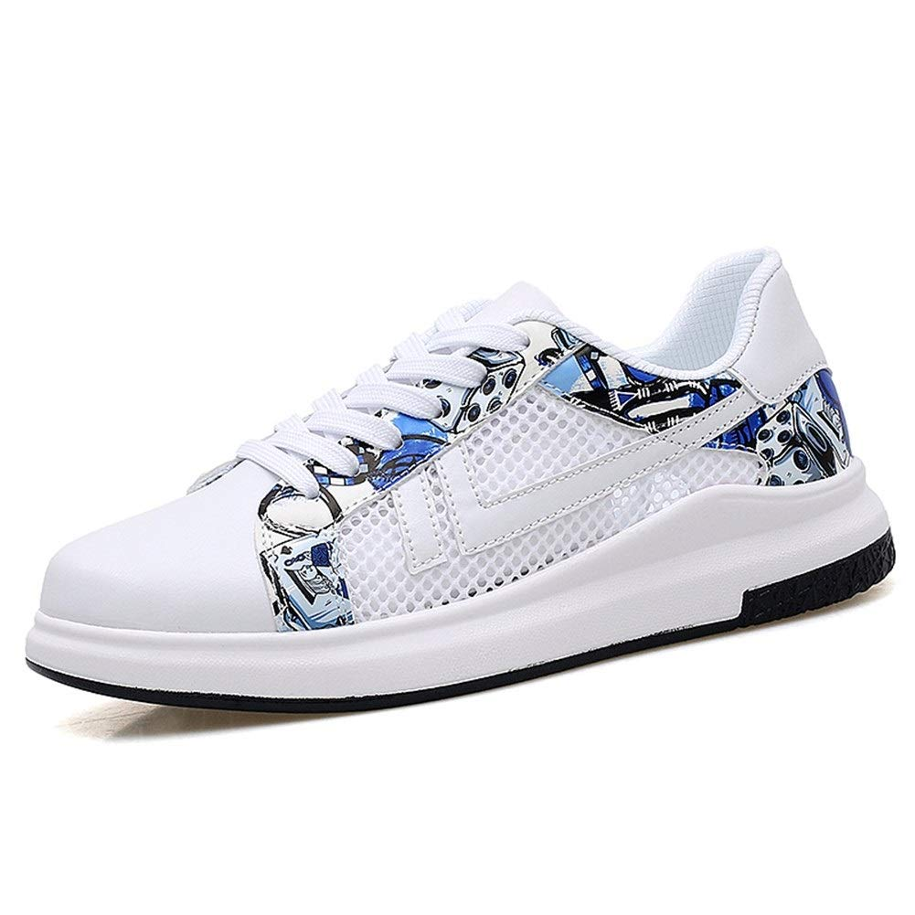 WhitE bLUE 7.5 UK Fashion shoes, fashion shoes Men's Fashion Sneakers For Unisex Lace Up Style Mesh&Microfiber Leather Sports shoes Pure colors Breathable Hollow Round Toe walking Athletic shoes Comfortable shoes, brea