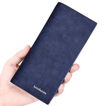 FaSoLa Billetera Larga Vintage Cartera Multifuncional PU Material Suave Hombres Azul Negro Regalo: Amazon.es: Jardín