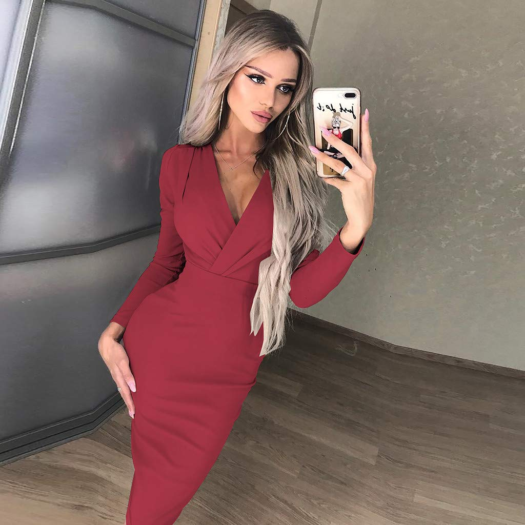 Dresses for Women Work Casual Deep V Wrap Ruched Long Sleeve Nightclub Mini Dress