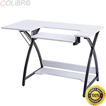 COLIBROX  Sewing Craft Table Computer Desk With Adjustable Platform Folding  Side Shelf. Craft