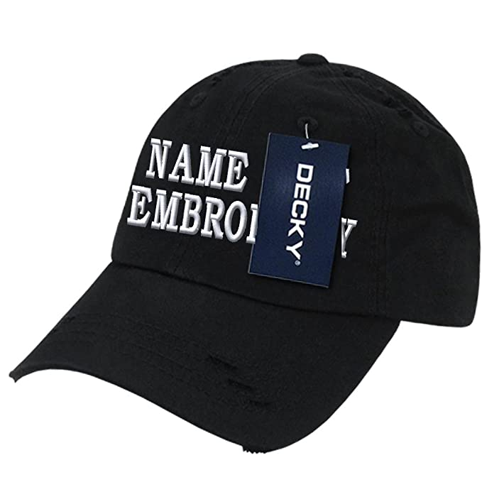faccd966 Custom Embroidered Hat Frayed Personalized Text Name Baseball Cap - Black