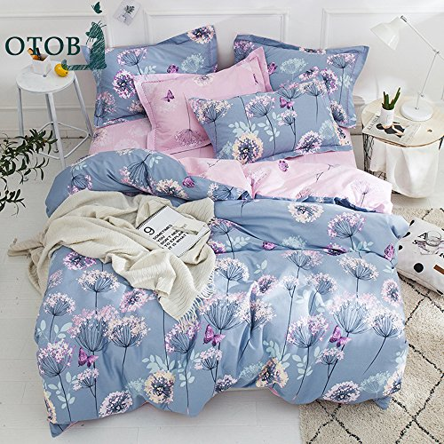 Cool Pink Butterfly Print - OTOB 3 Piece Floral Girls Twin Bedding Sets for Kids Teen Student Cartoon Butterfly Dandelion Print Twin Duvet Cover Set Cotton with 2 Pillow Shams Reversible Fairy Princess Bedding Twin Pink Purple