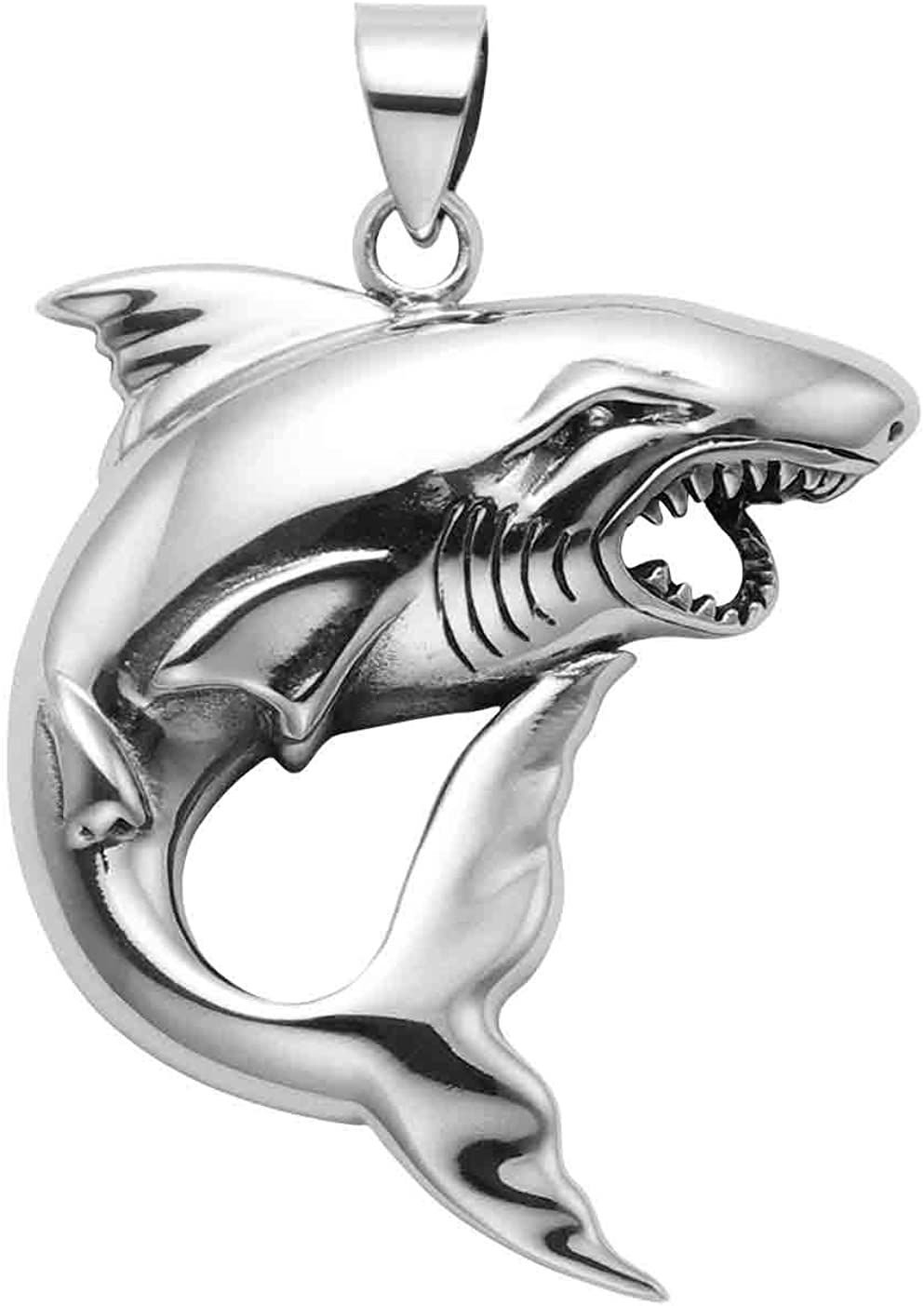 Large Sterling Silver Angry Shark Pendant