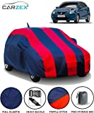 Carzex Car Body Cover Red & Blue Stripes with Mirror & Antenna Pockets for Maruti Baleno 2018 with Storage Bag (Full Sized, Fully Elastic, Triple Stitched)