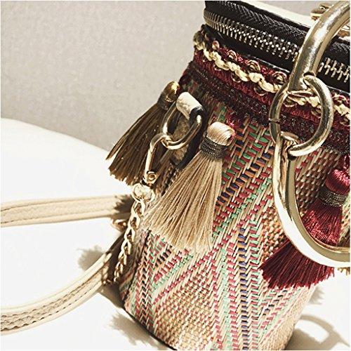 Mini Mensajero la Red Red Bolso Borla Bolso Coreano A la Bolso la El de Hombro Handbag Moda Bolso Cadena Nuevo del Color de de de qw0HEggx4