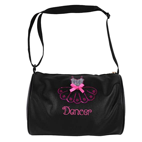 ... de Danza Deportes Infantil Tote Bolsa Lentejuelas Brillantes Bandolera  De Cuero Niña Bolso Hombro Para Viaje Gimnasio Casual Negro Un Tamaño   Amazon.es  ... de6de12e35457