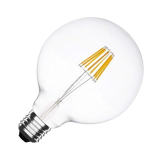 Bombilla LED E27 Regulable Filamento Supreme G125 6W Blanco Cálido 2000K-2500K efectoLED