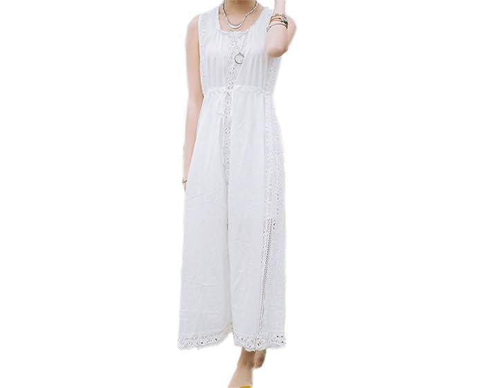 Twilaisaac Fashion elegante primavera dress womens alças ajustáveis de algodão longo branco praia casual vestidos sem