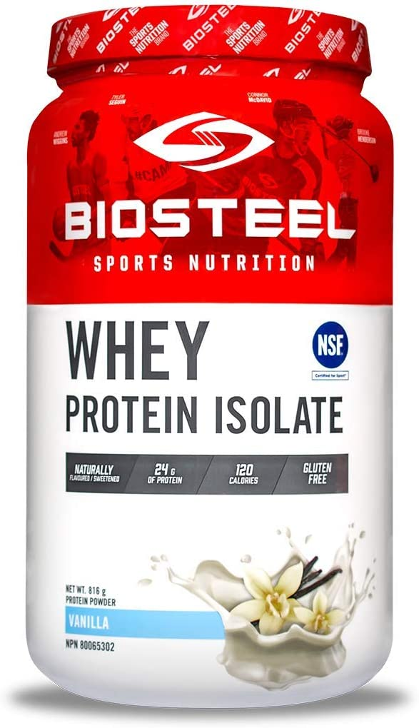 BioSteel Whey Protein Isolate, Grass Fed, Stevia Sweetened, Non GMO, Gluten Free, Soy Free, Antibiotic and Hormone Free, Vanilla, 816 Gram