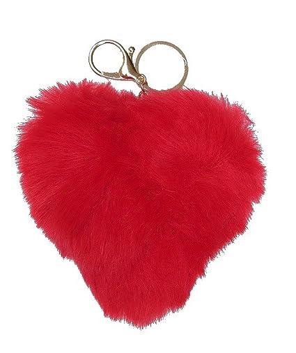 Bolso de la joyería, llavero pompón rojo en forma de corazón ...