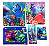 Finding Dory Back To School Poly 3 Ring Folder 1 Subject Notebook Pencil Case Erasers and Pencils Bundle