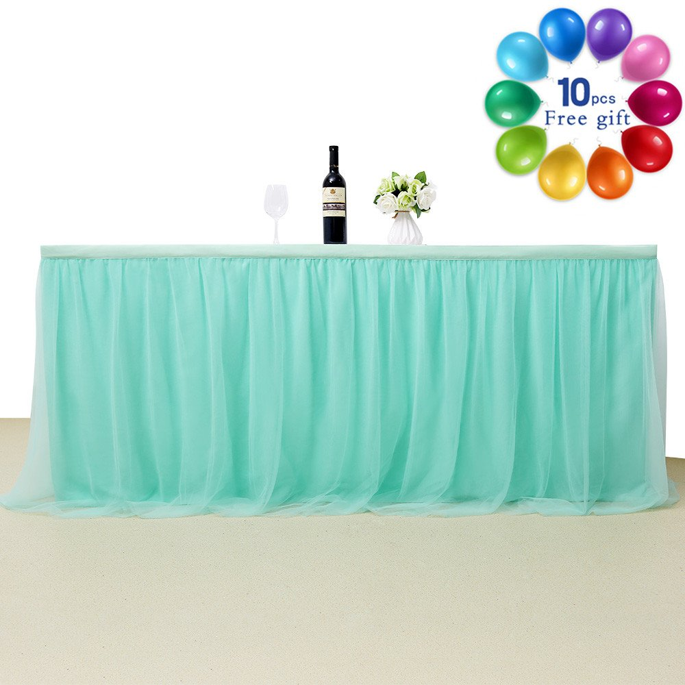 Mint 4.5 yards Table Skirt Princess Romantic Elegent Table Ruffle Skirt for Wedding Baby Shower Birthday Party Decor Party Banquet L14ft H 30in by B-COOL