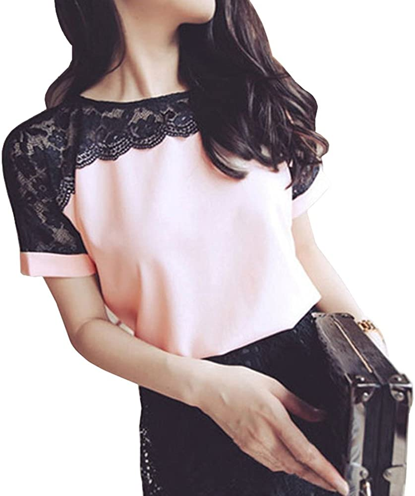 Mishe Candy Women Summer Lace Chiffon Office Shirt Blouses Plus Size