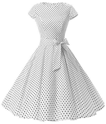 TINTAO Womens Classy Audrey Hepburn 1950s Retro Cap Sleeve Tea Swing Dresses D108 (White dots, Medium) -
