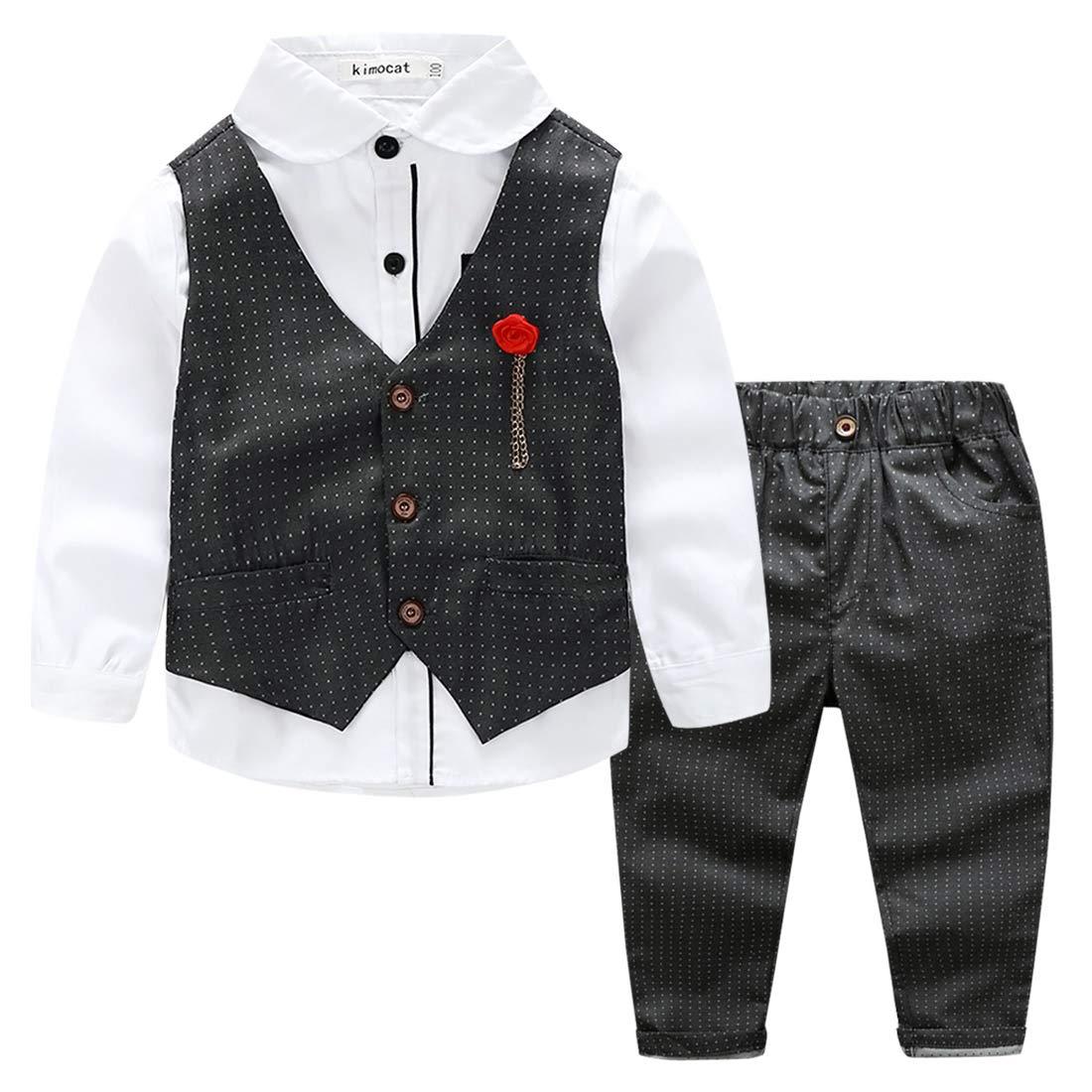 Little Boys 3pcs Cotton Formal Suit Set Long Sleeve Wedding Gentlemen Outfits Classic Vintage Breathable Tuxedo, 4T
