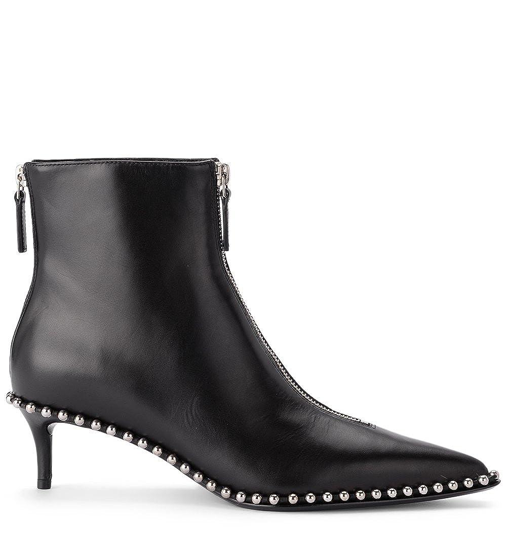 Black Alexander Wang Woman's Eri Black Leather Ankle Boots Studs Zip