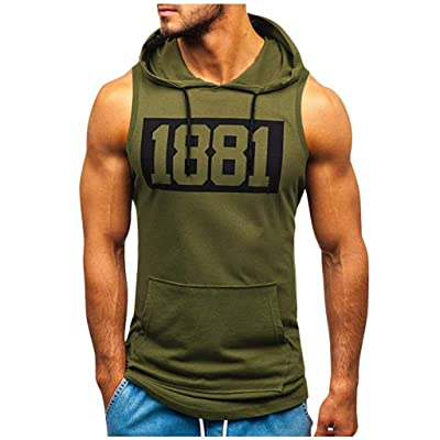baskuwish Men's Muscle Fitness Workout Tank Tops Gym Soft Drawstring Sleeveless Hoodie: Clothing