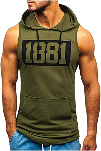 Corriee Men's Athletic Sleeveless Shirt Summer Hoodie Tank Top Men Sport Fitness Vest Male Muscle T-Shirt
