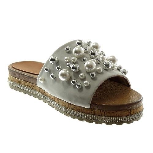 Angkorly - Chaussure Mode Sandale slip-on plateforme femme perle bijoux strass diamant Talon compensé 3.5 CM - Rose - YS457 T 39 8Pefob