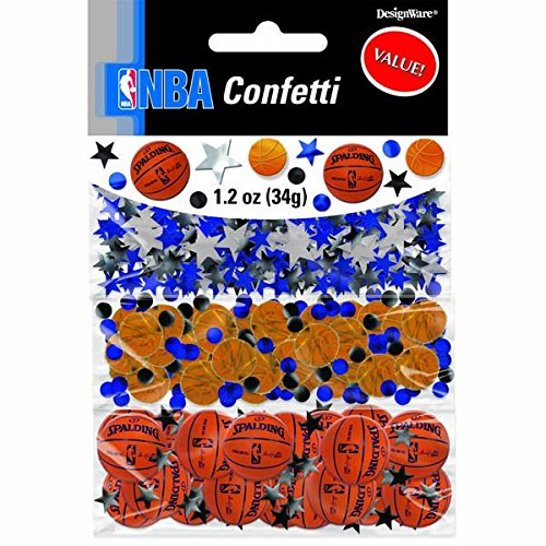 Amscan Cool Spalding Basketball Party Foil Confetti Value Pack, 1.2 oz, Blue/Silver
