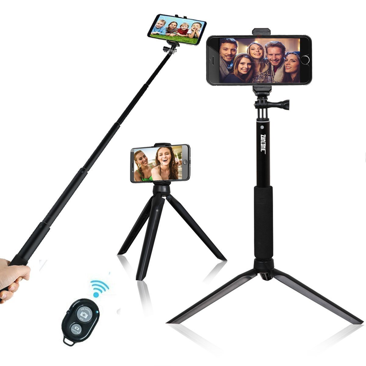 Selfie Stick with Tripod,NewRoad Extentable Selfie Stick with 360 Rotation Metal Phone Tripod and Wireless Remote for Gopro, Digital Cameras and Cell Phone(Andriod &iOS) 4326573182