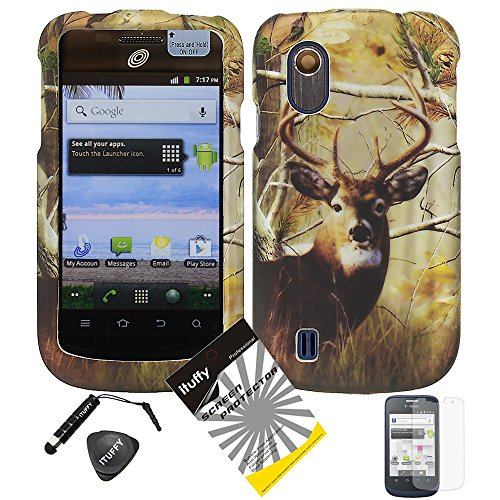 4 items Combo: ITUFFY (TM) LCD Screen Protector Film + Mini Stylus Pen + Case Opener + Design Rubberized Snap on Hard Shell Cover Faceplate Skin Phone Case for ZTE Concord V768 (T-Mobile) / ZTE Midnight Z768G (Deer Tree Camouflage) (T Mobile Concord Phone Cases)