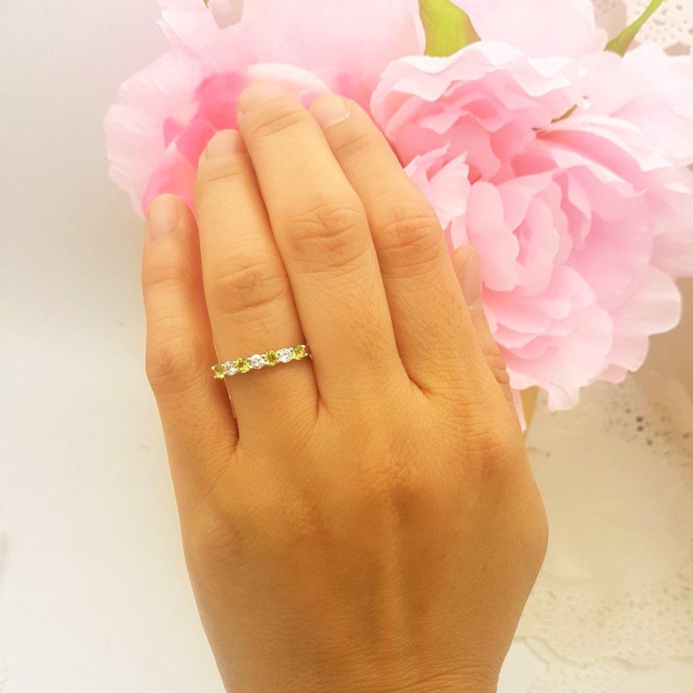 Dazzlingrock Collection 14K Round Peridot & White Diamond Ladies 7 Stone Wedding Band Ring, White Gold, Size 8 by Dazzlingrock Collection (Image #4)