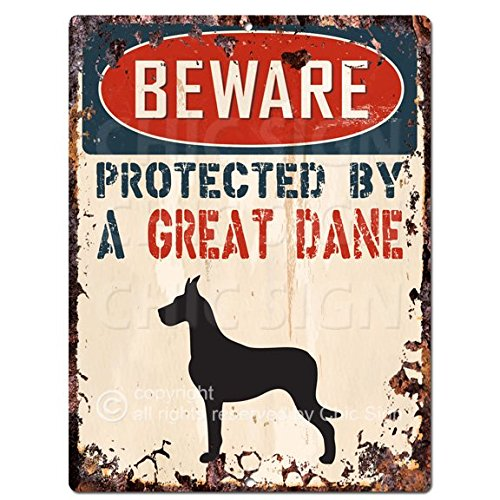 BEWARE PROTECTED BY A GREAT DANE Chic Sign Vintage Retro Rustic 9x12 Metal Plate Home Room Door Wall Decoration